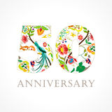 50 years old luxurious celebrating folk logo. Stock Photography