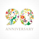 90 years old luxurious celebrating folk logo. Royalty Free Stock Images