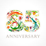 85 years old luxurious celebrating folk logo. Template colored 85 th happy anniversary greetings, ethnics flowers, plants, paradise birds. Traditional Royalty Free Stock Image