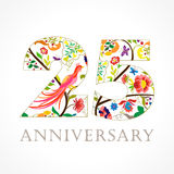 25 years old luxurious celebrating folk logo. Template colored 25 th happy anniversary greetings, ethnics flowers, plants, paradise birds. Traditional stock illustration
