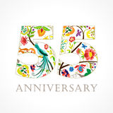 55 years old luxurious celebrating folk logo. Template colored 55 th happy anniversary greetings, ethnics flowers, plants, paradise birds. Traditional Stock Photography