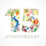 15 years old luxurious celebrating folk logo. Template colored 15 th happy anniversary greetings, ethnics flowers, plants, paradise birds. Set of traditional stock illustration