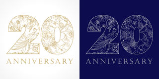 20 years old luxurious. Celebrating folk logo. Template gold colored 20 th happy anniversary greetings, ethnics flowers, plants, paradise birds. Set of Royalty Free Stock Photos