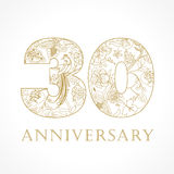 30 years old luxurious. Celebrating folk logo. Template gold colored 30 th happy anniversary greetings, ethnics flowers, plants, paradise birds. Set of Stock Images