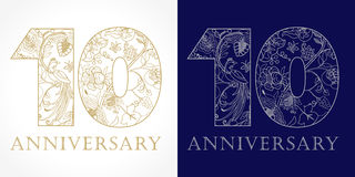 10 years old luxurious. Celebrating folk logo. Template gold colored 10 th happy anniversary greetings, ethnics flowers, plants, paradise birds. Set of Royalty Free Stock Photos