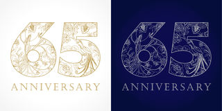 65 years old luxurious celebrating folk numbers. Template gold and silver colored 65 th happy anniversary greetings, ethnics flowers, plants, paradise birds Stock Illustration