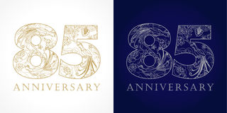 85 years old luxurious celebrating folk numbers. Template gold and silver colored 85 th happy anniversary greetings, ethnics flowers, plants, paradise birds Royalty Free Stock Photo