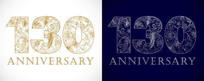 130 years old luxurious celebrating numbers. Royalty Free Stock Photo