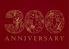 300 years old luxurious celebrating numbers. Template golden, silver colored happy anniversary decorating greetings, third 3d place, three, thirty, 0 or letter royalty free illustration