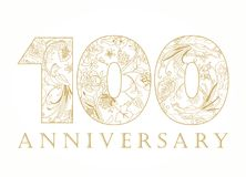 100 years old luxurious celebrating numbers. Template golden, silver colored happy anniversary decorating greetings, first 1st place, one, four, 0 or letter O Royalty Free Stock Photos