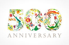 500 years old luxurious celebrating numbers. Template multi colored happy anniversary decorating greetings, thanks, five, fifty % percent off, 0 or letter O Vector Illustration
