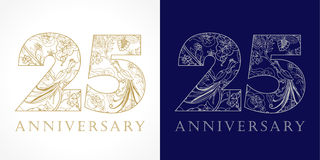 25 years old luxurious logo. 25 years old luxurious celebrating folk numbers. Template gold and silver colored 25 th happy anniversary greetings, ethnics vector illustration