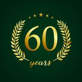 60 years old luxurious logo. 60 years old luxurious logotype. Congratulating 60th, 6th numbers in circle of palms, cup template. Isolated sign greetings symbol Royalty Free Stock Photos