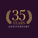 35 years old luxurious logo. 35 years old luxurious numbers. Congratulations 35th vector gold colored template framed of palms. Greetings ages celebrates royalty free illustration