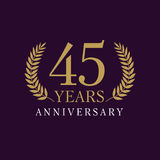 45 years old luxurious logo. 45 years old luxurious numbers. Congratulations 45th vector gold colored template framed of palms. Greetings ages celebrates royalty free illustration