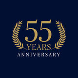 55 years old luxurious logo. 55 years old luxurious numbers. Congratulations 55th vector gold colored template sign framed by palms. Greetings ages celebrates royalty free illustration