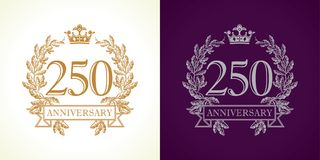 250 anniversary luxury logo. 250 years old luxurious logotype. Congratulating 250th numbers gold colored template framed in palms. Isolated greetings celebrates royalty free illustration