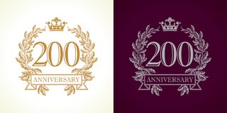 200 anniversary luxury logo. 200 years old luxurious logotype. Congratulating 200th numbers gold colored template framed in palms. Isolated greetings celebrates Royalty Free Stock Images