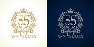 55 anniversary luxury logo. 55 years old luxurious logotype. Congratulating 55th numbers gold colored template framed in palms. Isolated greetings celebrates vector illustration
