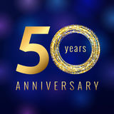 50 years old luxurious numbers. Congratulations 50th vector gold colored template sign with sparks, stars. Congratulating greetings celebrates. Celebrating Stock Photo