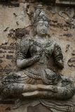 400 years old ruined ancient standing and praying of male angel statue at Chiangmai, Thailand, buddha statue Stock Images