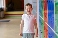 7 years old schoolboy at last day of school Royalty Free Stock Image