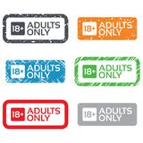18 years old sign. Adults content only. 18 years old sign. Adults content only icon. Retro Stamps and Badges Stock Images