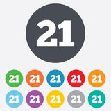 21 years old sign. Adults content. 21 years old sign. Adults content icon. Round colourful 11 buttons Stock Images