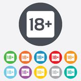 18 years old sign. Adults content only. 18 years old sign. Adults content only icon. Round colourful 11 buttons Stock Images