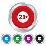 21 years old sign. Adults content. 21 plus years old sign. Adults content icon. Round metallic buttons Royalty Free Stock Image