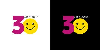 30 anniversary with fun and smile. 30 years old smiling logo. Congratulating celebrating 30th, 3d numbers, logotype with emotions. Isolated humorous colored Vector Illustration