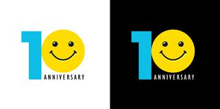 10 anniversary with fun and smile. 10 years old smiling logo. Congratulating celebrating 10th, 1st numbers, logotype with emotions. Isolated humorous colored Vector Illustration