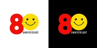 80 anniversary with fun and smile. 80 years old smiling logo. Congratulating celebrating 80th, 8th numbers, logotype with emotions. Isolated humorous colored Royalty Free Stock Image