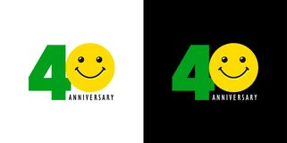40 anniversary with fun and smile. 40 years old smiling logo. Congratulating celebrating 40th, 4th numbers, logotype with emotions. Isolated humorous colored Royalty Free Illustration