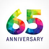 65 years old stained-glass colored logotype. Anniversary numbers 65 th. Shining celebrating congratulating greetings. Sixty five or % off stained facet Stock Photo