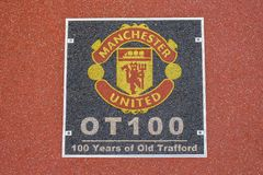 100 years at Old Trafford, Manchester United`s football ground. Floor signage found near the dug out and the original players stock photos