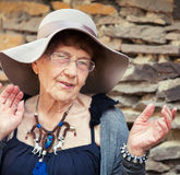 90 years old woman walking. Stylish 90 years old woman walking around city. Granny female outdoors Royalty Free Stock Photos