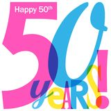 50 YEARS colorful overlapping letters banner. 50 YEARS overlapping letters banner card.  Blue, pink and yellow palette.  Vector Royalty Free Stock Image