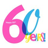 60 YEARS colorful overlapping letters banner. 60 YEARS overlapping letters banner card.  Blue, pink and yellow palette.  Vector Stock Photo