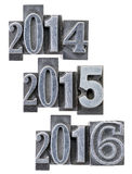 Years 2014, 2015 and 2016 Stock Images