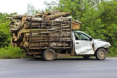 Dilapidated pickup truck carrying logs in thailand royalty free stock images