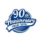 90years projekta rocznicowy szablon Wektor i ilustracja 90th logo royalty ilustracja
