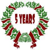 5 YEARS red and green flower crown. Illustration concept Royalty Free Stock Photos