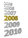 Years in review. 3D rendered sequence of years 2005 - 2010 with highlighted 2008 isolated on white Stock Photography