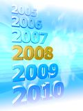 Years in review. 3D rendered sequence of years 2005 - 2010 with highlighted 2008 on blue background Stock Illustration