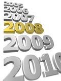 Years in review. 3D rendered sequence of years 2005 - 2010 with highlighted 2008, isolated on white with depth of field Stock Photography