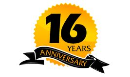 16 Years Ribbon Anniversary. Logo illustration Vector can use for any purpose royalty free illustration