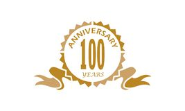 100 Years Ribbon Anniversary. Logo Design Template Vector Royalty Free Stock Photography