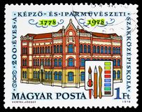 200 years of School of Arts and Crafts, Buildings serie, circa 1978. MOSCOW, RUSSIA - FEBRUARY 9, 2019: A stamp printed in Hungary shows 200 years of School of stock image