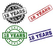 Damaged Textured 18 YEARS Stamp Seals. 18 YEARS seal prints with damaged surface. Black, green,red,blue vector rubber prints of 18 YEARS title with grunge Vector Illustration